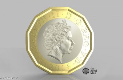 UNSPECIFIED - This undated handout image supplied by the Royal Mint on March 19, 2014, shows the new design for a 12-sided one pound coin. The coin is designed to be much harder to fake and is based on the pre-decimal 'threepenny bit' three pence piece. (Photo by the Royal Mint via Getty Images)